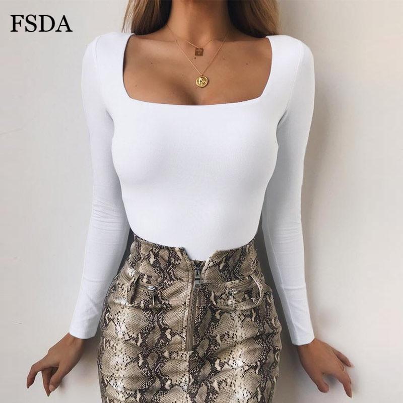 FSDA Long Sleeve Knitted Skinny Bodysuit Women Winter Autumn Winter Solid Square Collar White Black