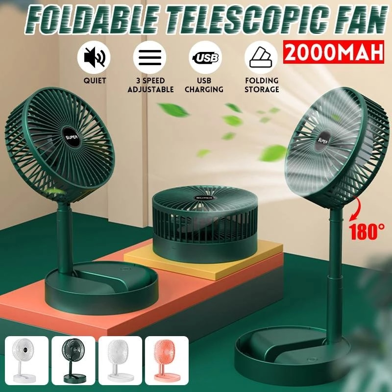 Xiaomi Mini Folding Telescopic Fan USB Rechargeable Floor Fan For Student Dormitory Home Outdoor Camping Office Small Desktop Fa