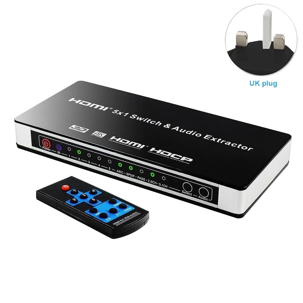 5x1 arco HDMI Audio Extractor conmutador de vídeo DVD PC de la Oficina de Control Remoto 4K TV 3D convertidor adaptador de corriente para portátil en casa