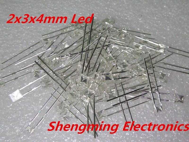 100 stücke 2x3x4 Weiß led licht emittierende diode super bright Diffused wasser klar light emitting diode emitting diodewhite led light -