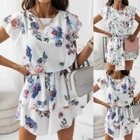 women sleeveless dress long gown summer casual wearing clothes loose o short floral dress printed neck y0o8