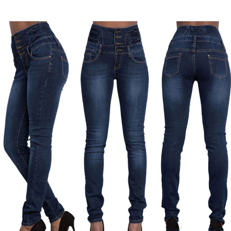 2020 New Arrival Wholesale Woman Denim Pencil Pants Top Brand Stretch Jeans High Waist Pants Women High Waist Jeans