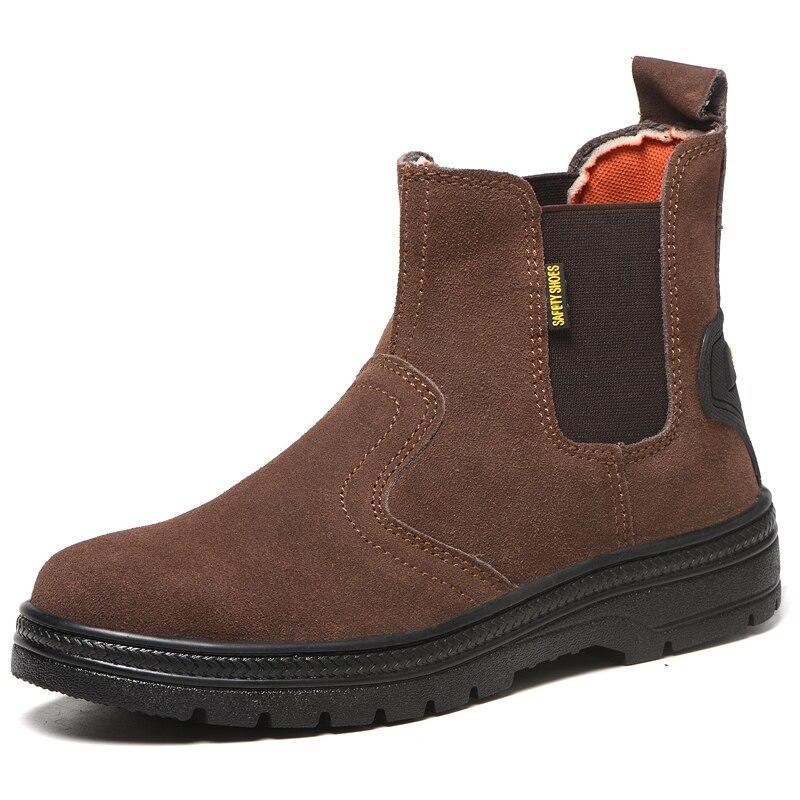 Gorros de acero de talla grande de moda de lujo para hombre, botas de seguridad para el trabajo, zapatos de soldadura de cuero suave, botas de seguridad para trabajadores