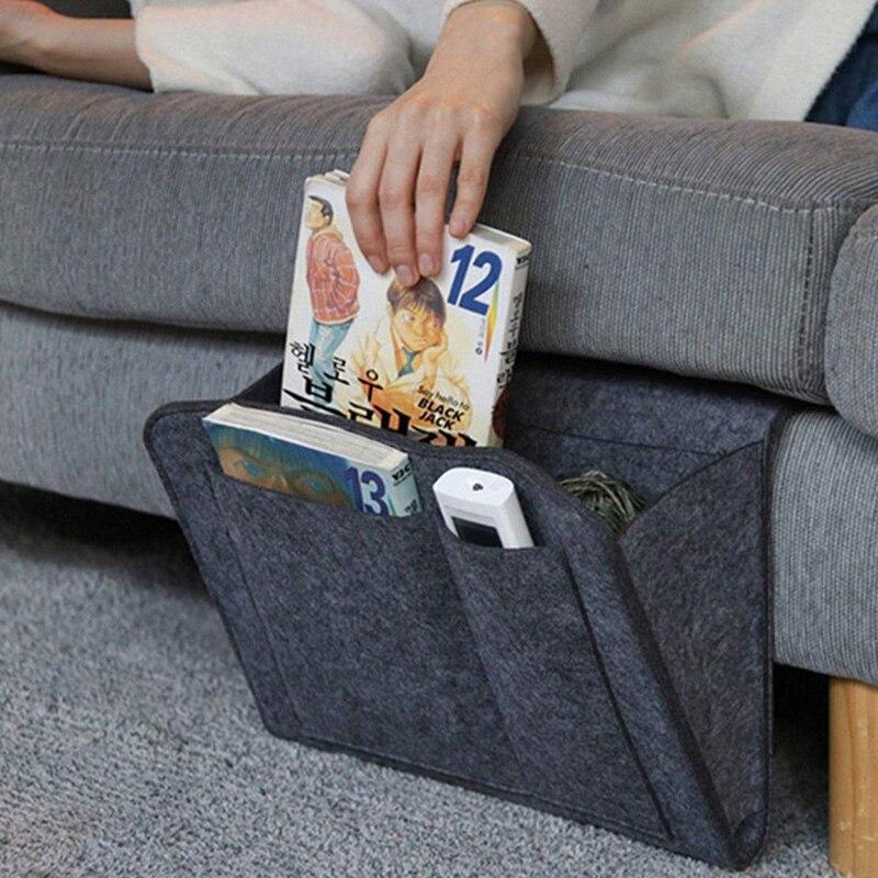 Feltro organizador de armazenamento de cabeceira anti-deslizamento saco de cabeceira cama sofá lado pendurado armazenamento de controle remoto cama titular bolsos