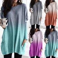 gradient color ombre shirt baggy clothes loose harajuku fashion shirt big size tunic pocket 5xl women tshirts casual long sleeve