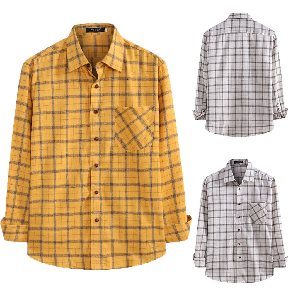 Autumn Long Sleeve Plaid Men Shirt Men's Korean Loose Casual Shirt Thin Coat Foreign Trade Large Size