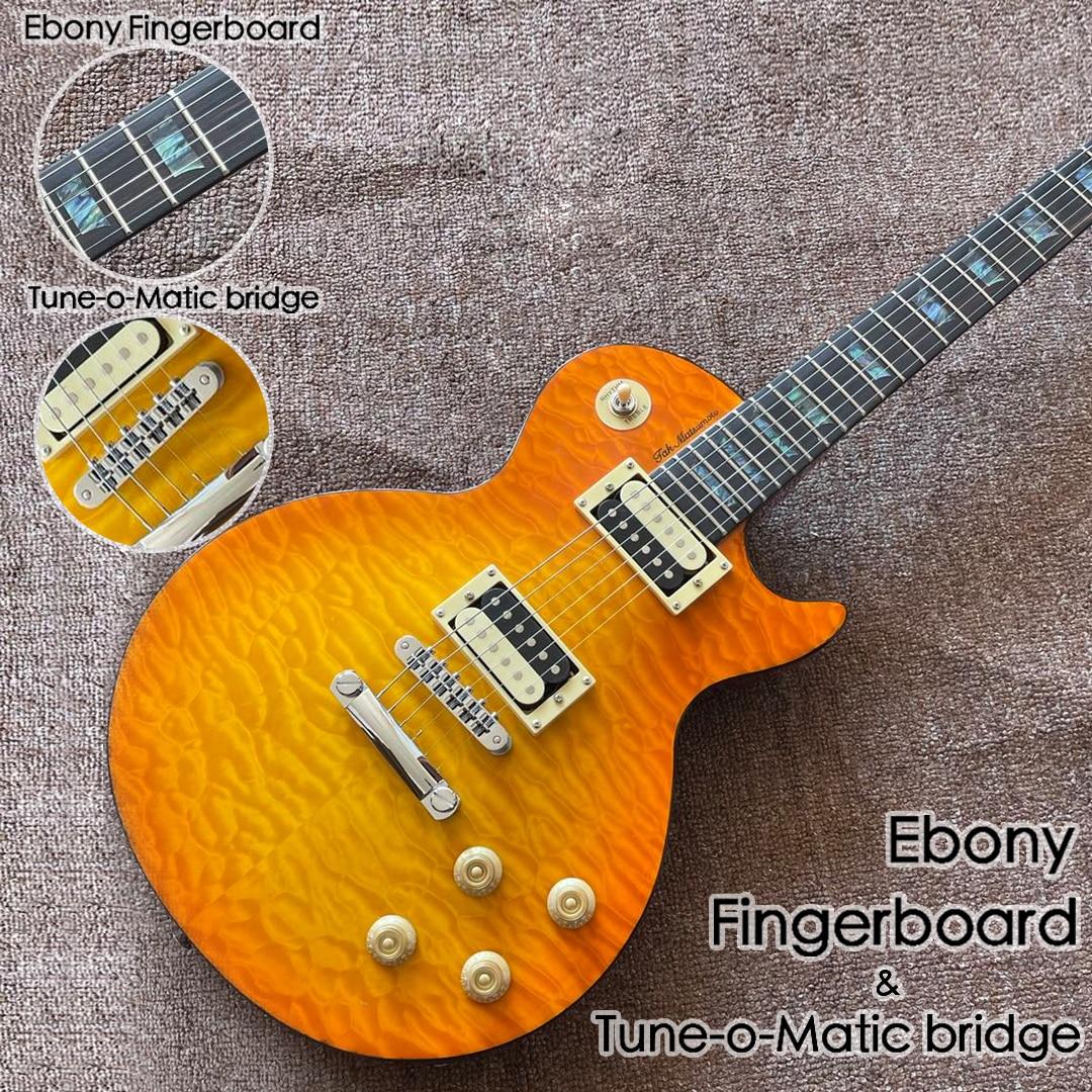one piece neck and body  Sunburst color flame top Ebony fingerboard Electric Guitar.Tune-o-Matic bridge.honey color