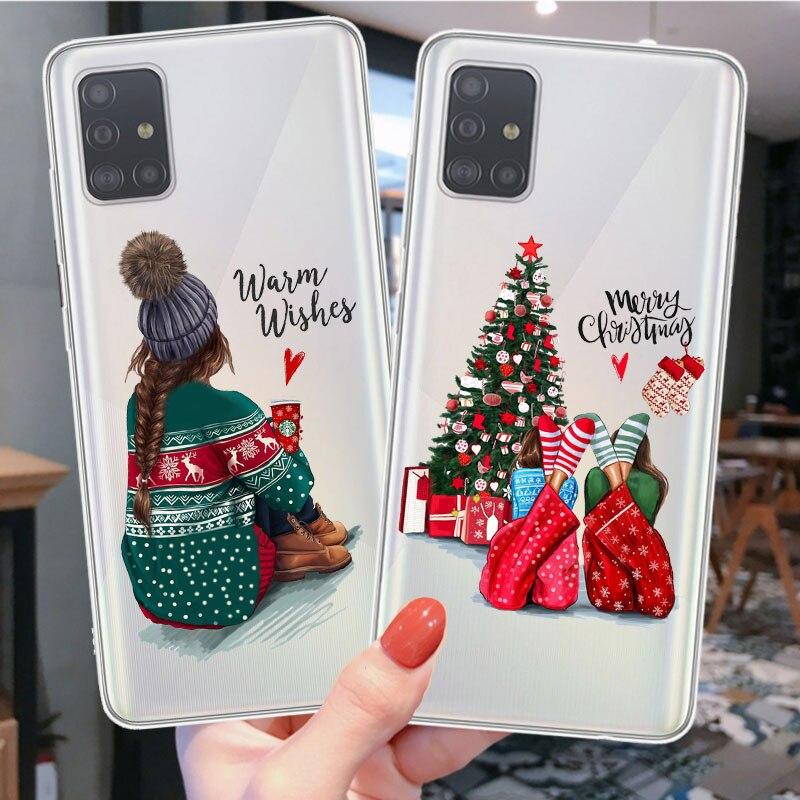 Christmas Cartoon Deer winter Santa Soft Case For Samsung Galax A51 A71 A10 A30 A50 A70 A80 A6 A7 A8 Plus Elk Cover Funda Coque