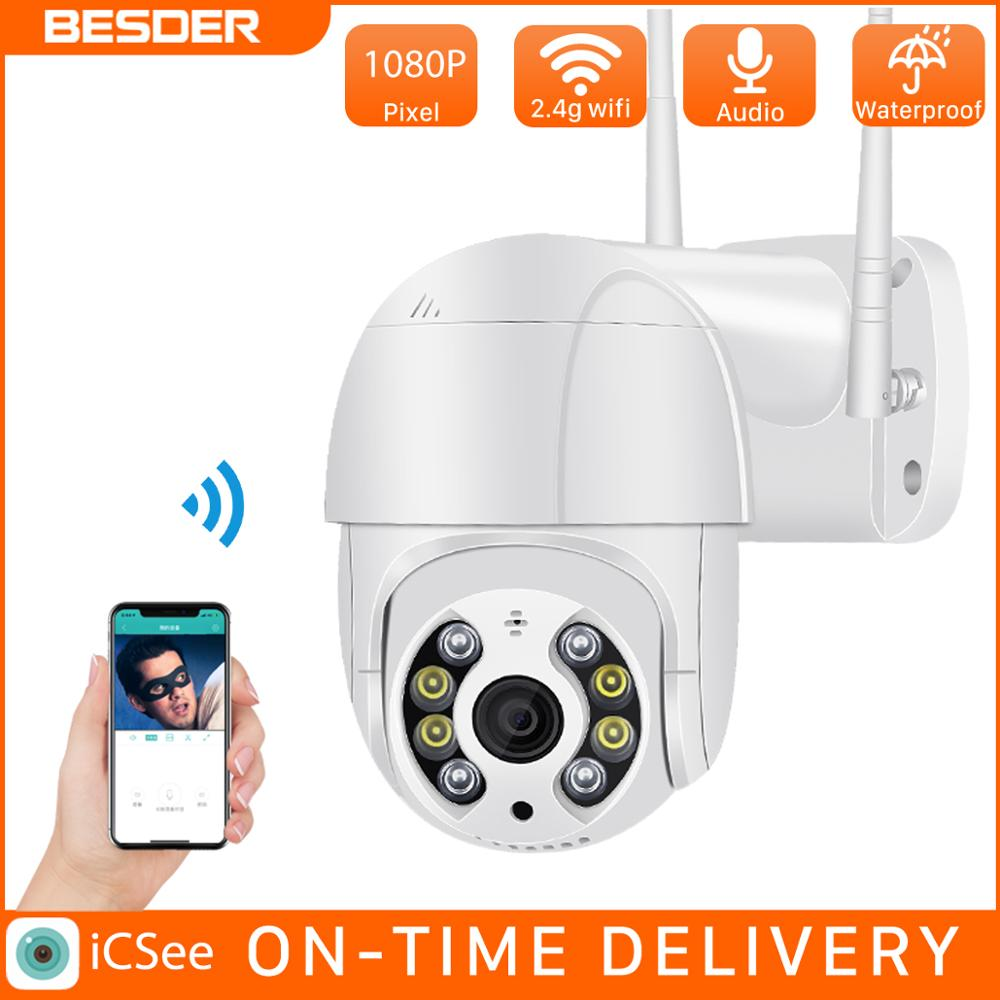 BESDER واي فاي 1080P كاميرا الأمن في الهواء الطلق كاميرا متحركة الإنسان كشف اللون للرؤية الليلية الصوت الحديث CCTV مراقبة P2P IP كاميرا