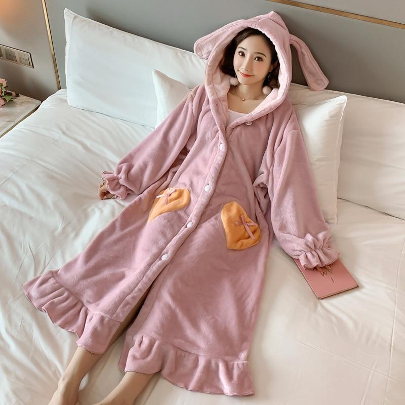 Winter Thick Warm Coral Velvet Night Robe Pajamas Women Long Sleeve Bathrobe Korean Fashion Kawaii Bunny Ears Sleepwear Nuisette