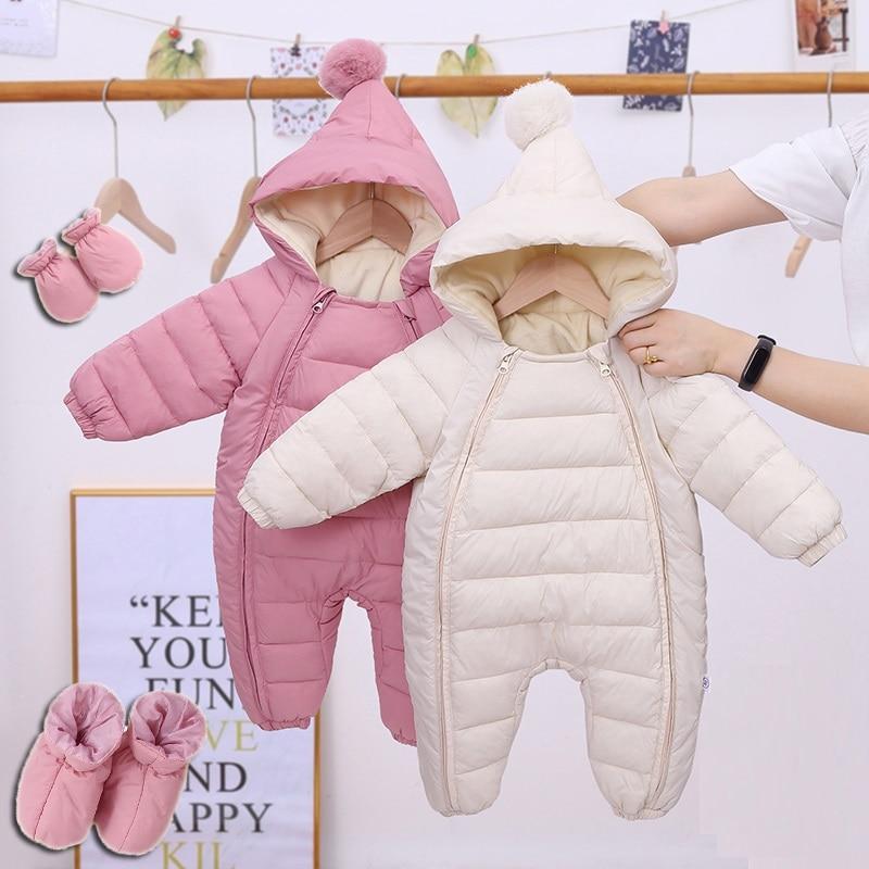 2020 Newborn Baby Jumpsuit Hooded Plus Velvet Warm Baby Boys Snowsuit Toddler Snow Suit Baby Girl Cotton Overalls Rompers