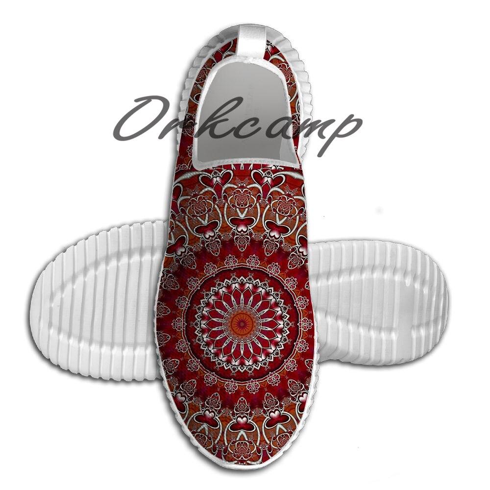 Zapatillas de correr con Mandala rojo rubí, cómodas zapatillas livianas de verano para correr y Yoga