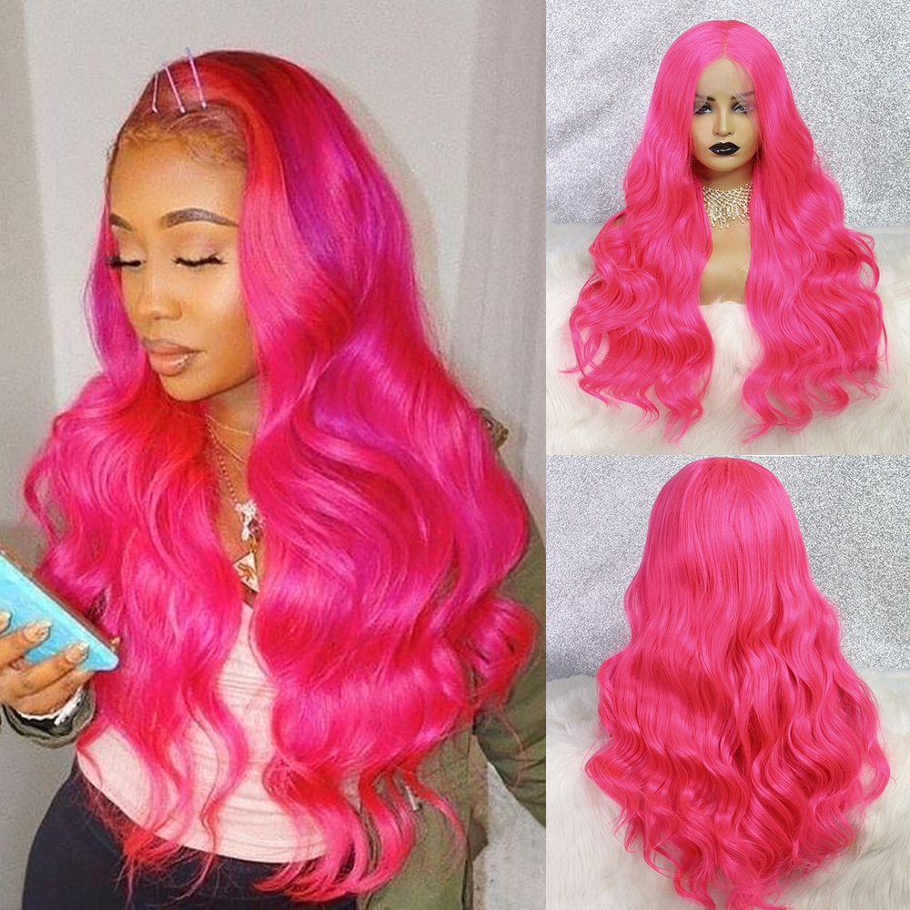 Hot Pink Wig Glueless Synthetic Lace Front Wig Loose Wave Heat Resistant 24 Inch Drag Queen Cosplay Wigs For Black Women OLEY