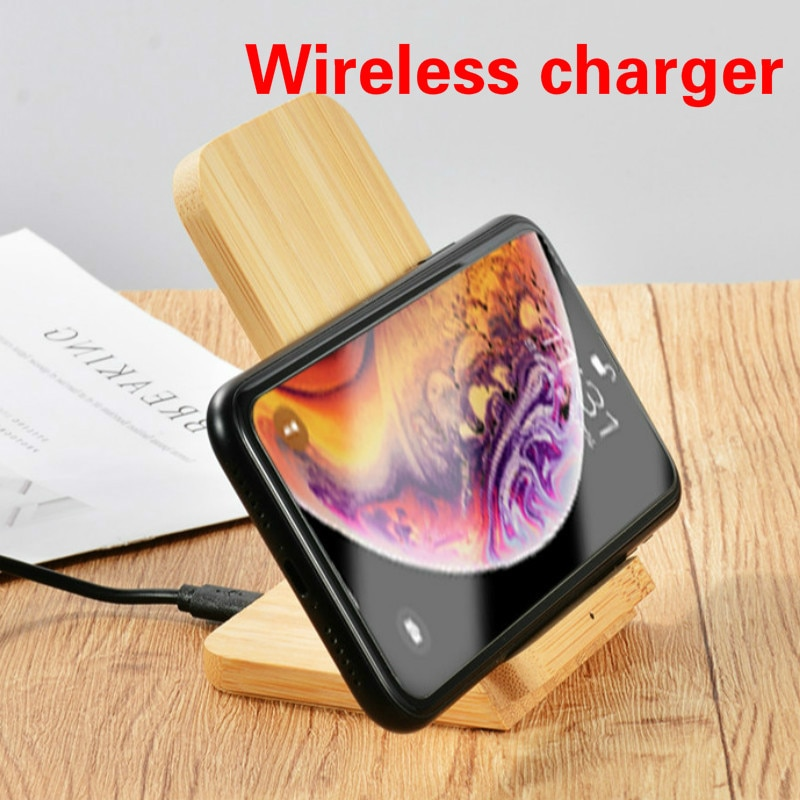 QI Fast Wireless Charger Vertical Phone Holder Retro Nordic Bamboo Wood Fashion Wireless Charger Phone Stand for IPhone12 Huawei