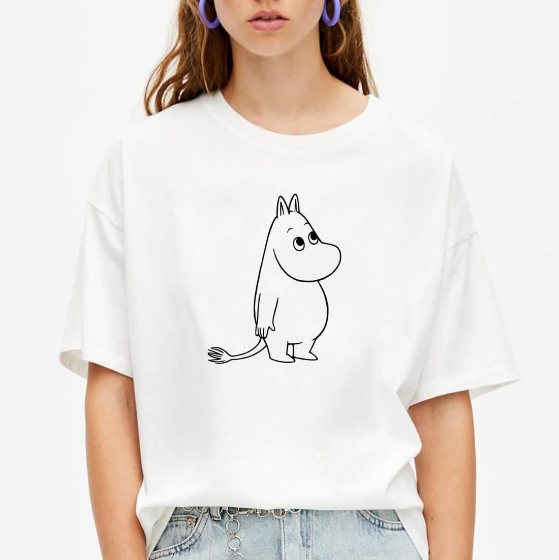 Модная рубашка для девочек, модная футболка с короткими рукавами Alt Moomins, хлопковая мягкая летняя футболка с 3D принтом, повседневная женская футболка Kawaii
