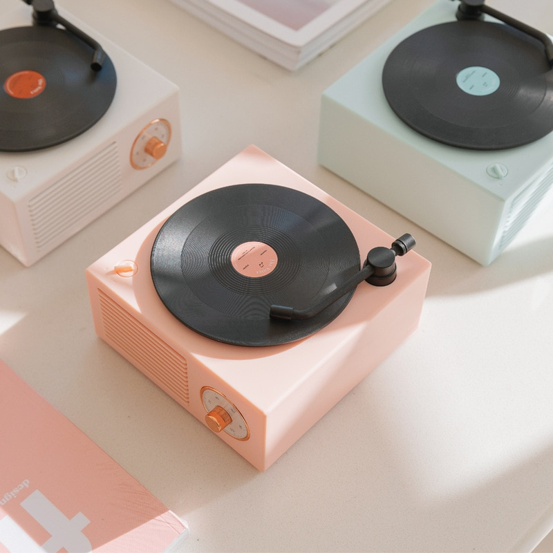 Music Box Type Built-in Bluetooth Stereo Wireless Vintage Retro Microphone Speaker HIFI Aux Support Portable Record Player Shape