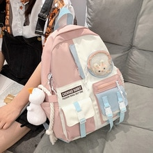 Cute Macaron College Backpacks Women Candy Color Drawstring Schoolbag for Teenage Girls Laptop Backp