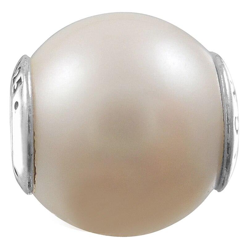 Dije de cuenta en plata esterlina 925 de calidad superior luminiscente blanco con perlas fijas ajuste Pandora esencia pulsera brazalete joyería Diy