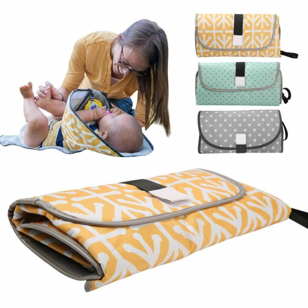 Drop shipping portátil pañal cambiador almohadilla embrague para Recién Nacido plegable manos limpias cambiador estación Kit impermeable alfombra de viaje