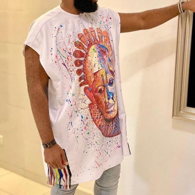 Men Muslim T Shirts 2021 Spring New Polka Dot Print U Neck Baggy Islamic Arabic Tops Short Sleeve Streetwear Mens Muslim Robes