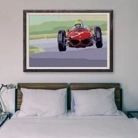 Peinture classique de voiture de course retro rouge T028  60 affiches en soie personnalisees  decoration murale  cadeau de noel
