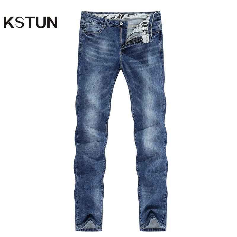 Pantalones vaqueros KSTUN para hombre, color azul claro, primavera 2020, estilo informal, recto, elástico, estilo Streetwear, vaqueros de alta calidad