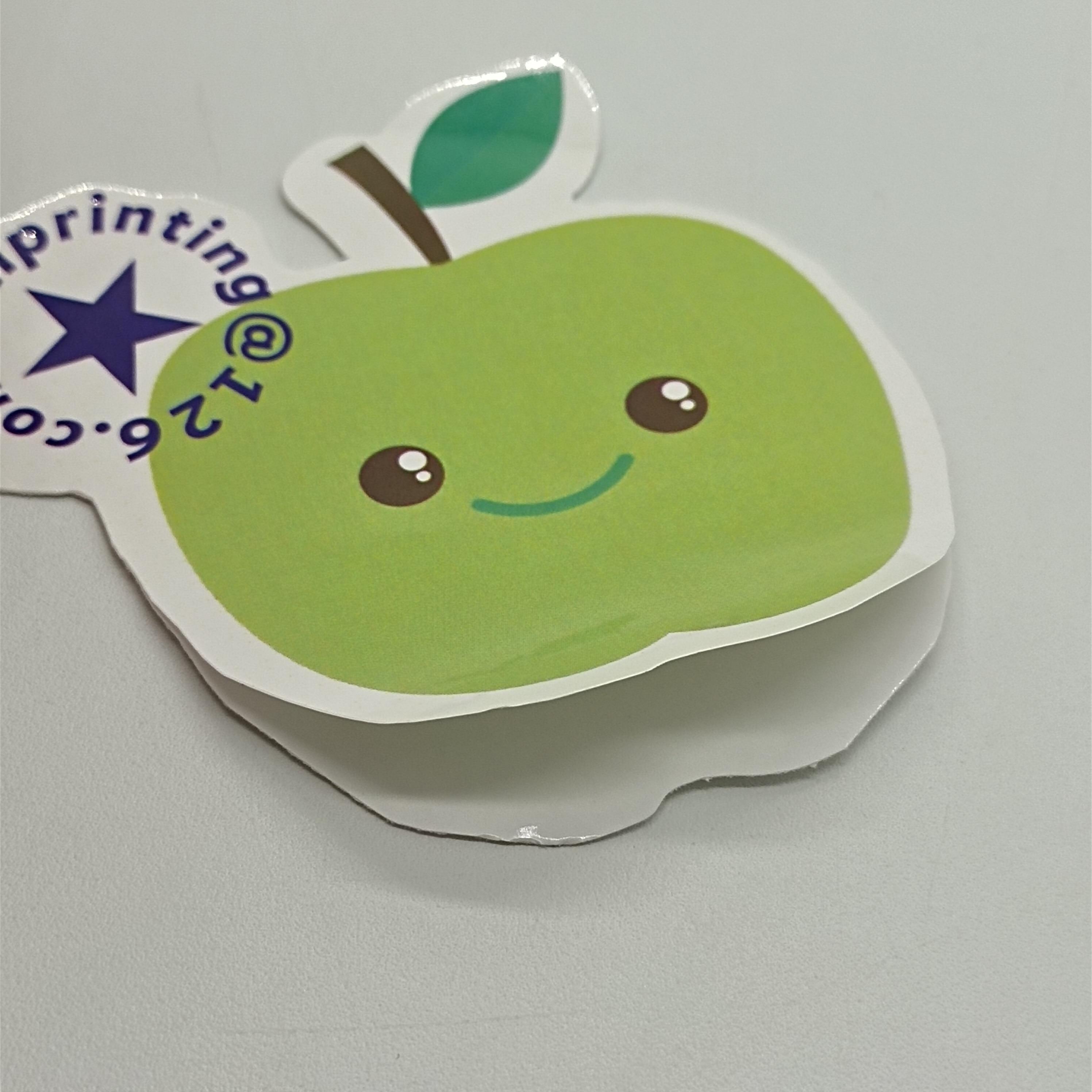 14x12/22x7.5/Green color  apple die cut sticker label printing custom