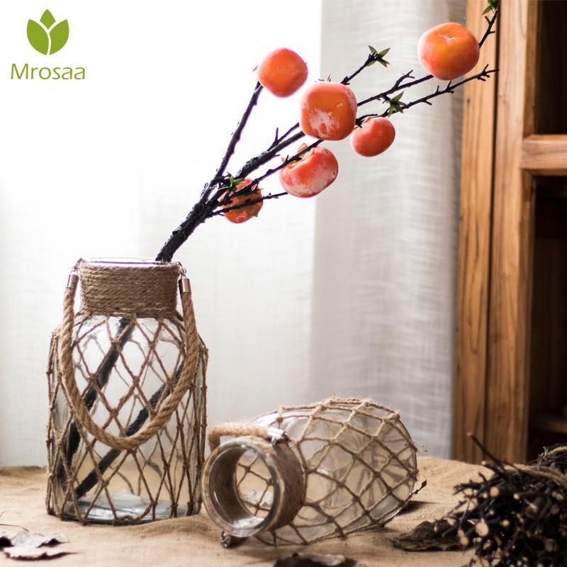 2019New Hemp Rope Vase Handmade American Style Glass Vase Living Room Table Decor Water Hydroponics Flower Rope Dry Flower Vase
