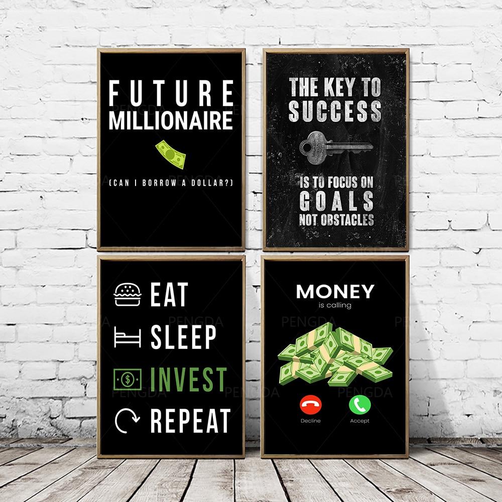 Papel dinero comida invertir lienzo pinturas decoración del hogar cuadros modulares moderno cartel impreso para arte de pared de salón sin marco