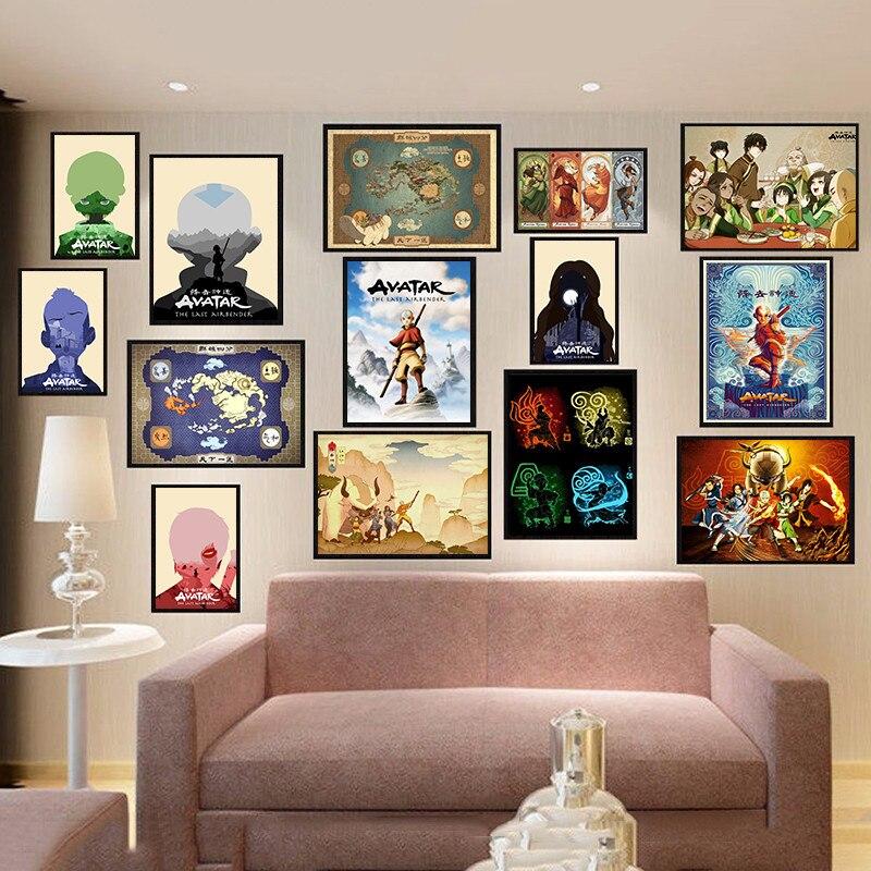 Avatar, el último maestro aire, póster de mapa de Anime japonés, imprime imágenes de pared de Pintura al lienzo al óleo para la decoración del hogar de la sala de estar