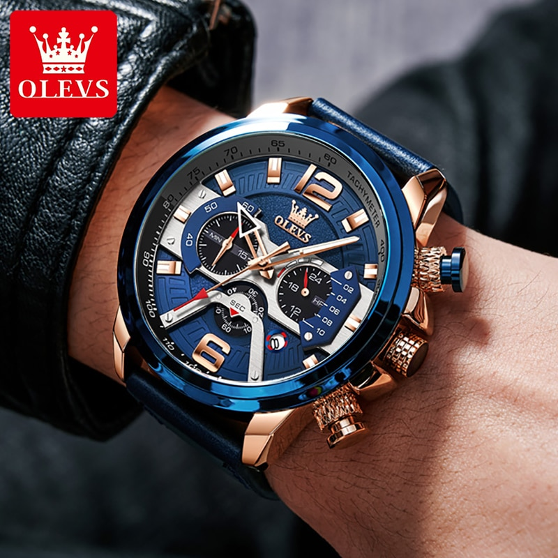 OLEVS Large Sports Men's Watches Waterproof Chronograph Calendar Man Watch Top Selling Fitness Watch