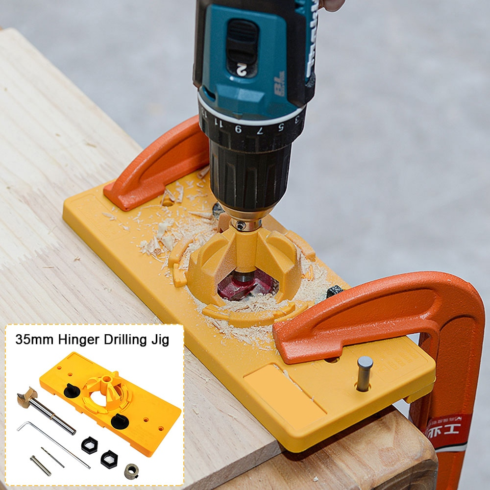 Concealed 35MM Cup Style Hinge Jig Boring Hole Drill Guide Forstner Bit Wood Cutter Carpenter Positioner Woodworking DIY Tools