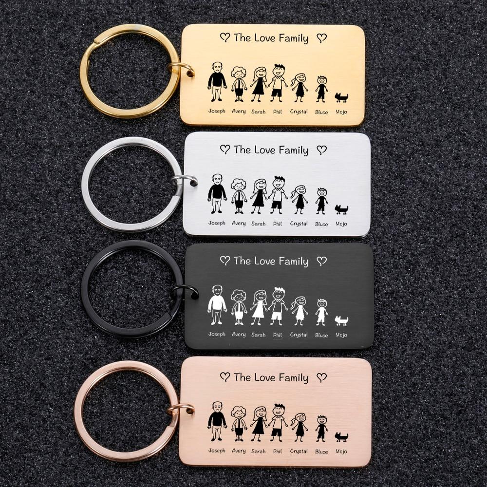 Mielas raktų pakabukas, išgraviruotas šeimos dovanos tėvams ir vaikų raktų pakabukas, šeimos narių dovanų raktų pakabukas