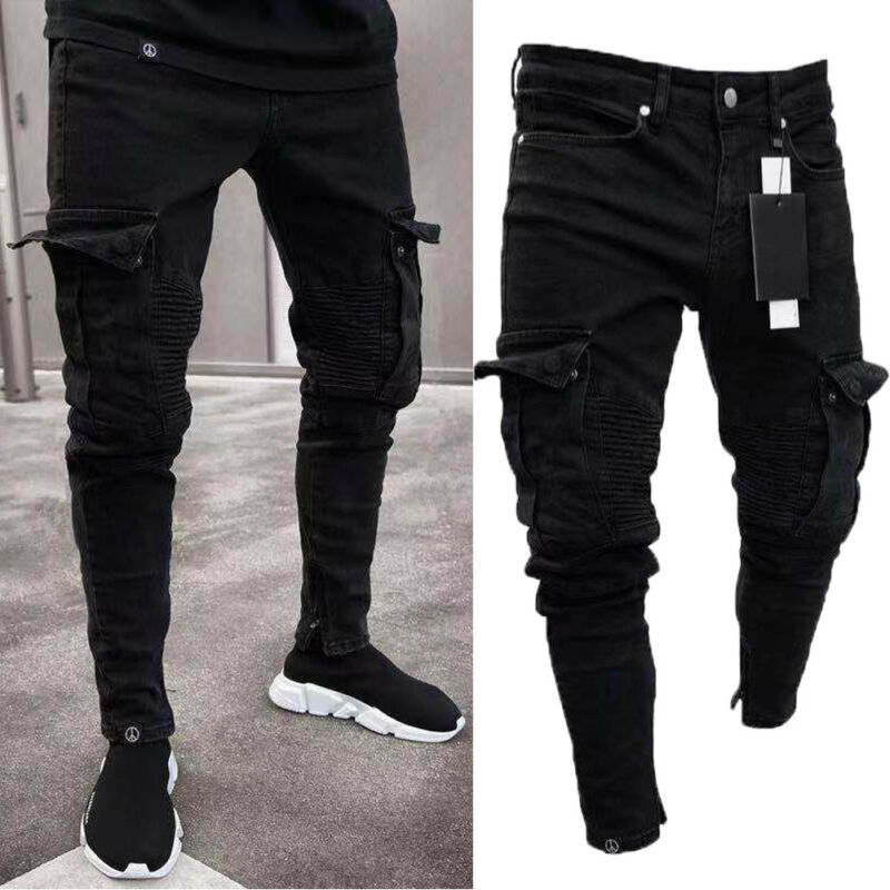Goocheer Long Pencil Pants Ripped Jeans Slim Spring Hole Men's Fashion Thin Skinny Jeans Men Hiphop