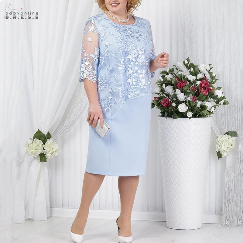 Vestido de noche de encaje de cielo azul elegante, vestido de noche Sexy de largo del té, vestidos de noche rectos de ilusión de 3/4 mangas, vestido recortado de Soiree Longue