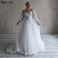 magic awn plus size off the shoulder wedding dresses full sleeves beaded sash organza boho wedding party gowns simple vestidos