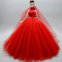 fashion red high neck wedding dress 16 bjd clothes for barbie doll clothes dancing outfit princess gown 11 5 dolls accessories