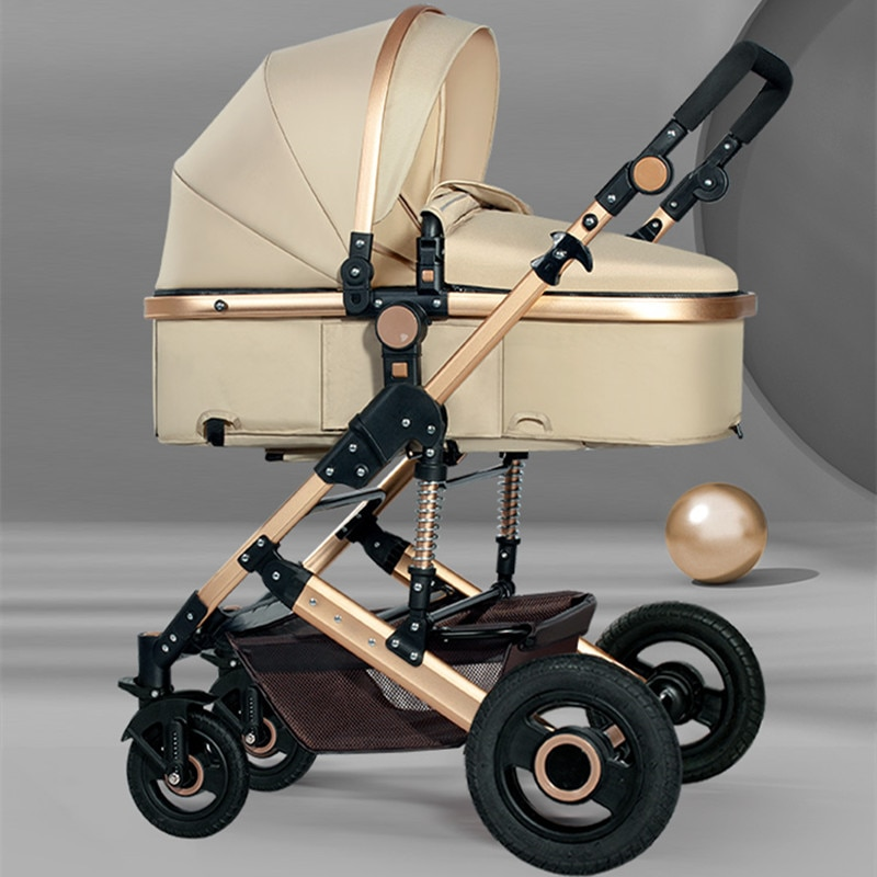 2021 Lightweight Luxury Baby Stroller 3 in 1 Portable High Landscape Reversible Stroller Hot Mom Pink Stroller Travel Pram