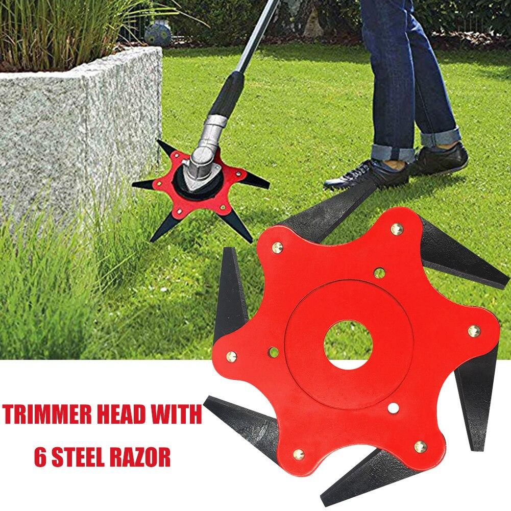 Lawn Mower 6 Teeth Brush Weed Cutter Blade Grass Trimmer Head 65Mn Grass Trimmer Head Garden Power Tool Accessories