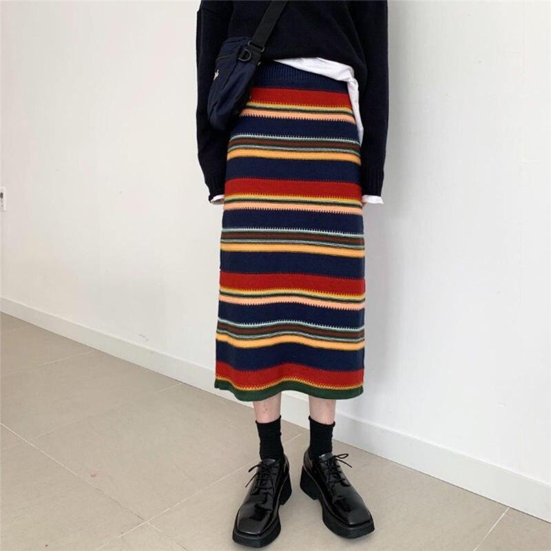 محبوك تنورة منتصف طول المرأة الربيع والخريف خمر شريط عالية الخصر فستان مستقيم فستان ضيق المرأة الكورية نمط