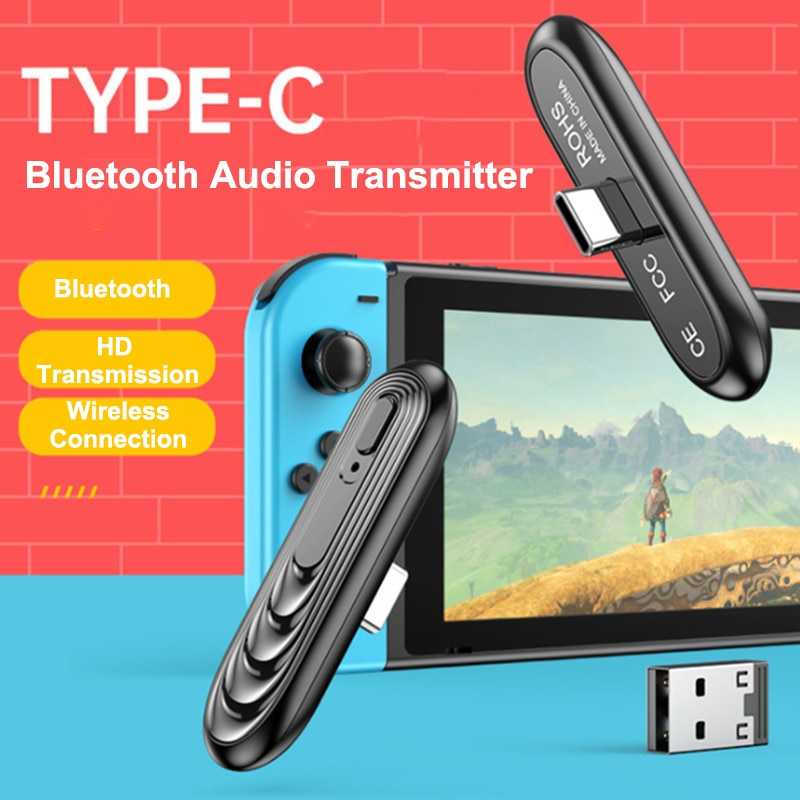 Transmissor v5.0 sem fio para nintendo switch, ps4/pc, transmissor de áudio estéreo tipo-c, adaptador usb