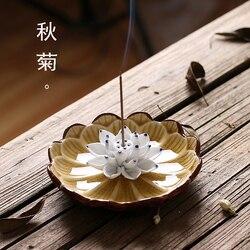 Jingdezhen cerâmica joss vara queimador de incenso lótus criativo requintado artesanal censer gelo rachaduras casa 4 cor opcional onsale!