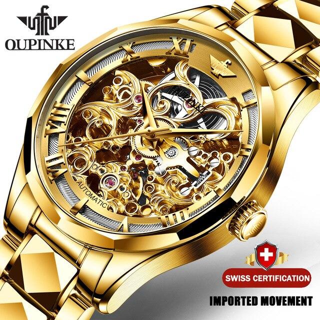 Negócios de Aço Relógio de Pulso Suíça Oupinke Luxo Ouro Relógios Masculinos Relógio Automático Tungstênio Mecânico Safira Cristal