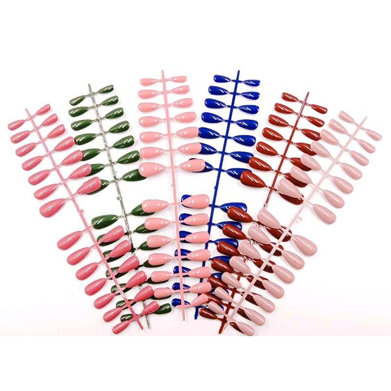 Uñas postizas de Color puro Ludeer, hermosas uñas postizas con pegamento para mujer, puntas reflectantes para prensar uñas para niñas, suministros de Arte para uñas