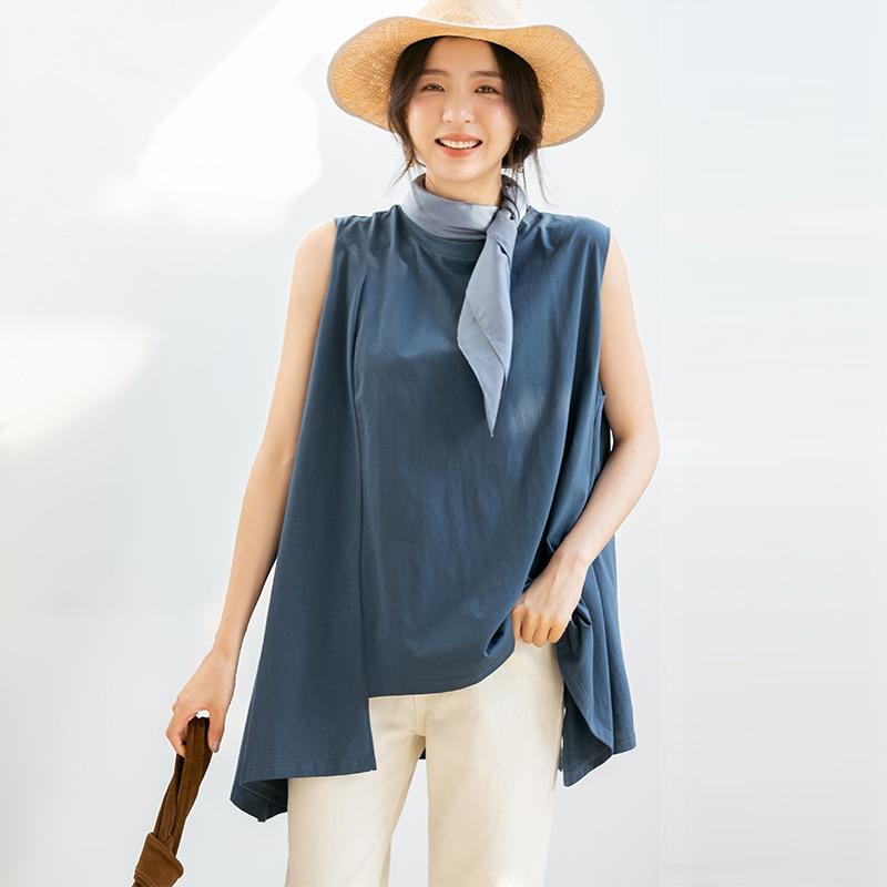 2020 moda mujer irregular o-cuello sin mangas largo suelto casual top camiseta verano Mujer Z2194