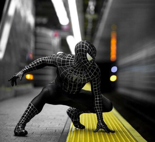 أسود العنكبوت 2 زي أسود مورف كامل بدلة للجسم TASM 2 Venom Spidey دعوى هالوين بذلة