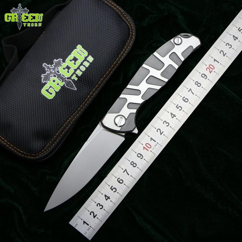 Espinho verde f95 flipper faca dobrável d2 lâmina tc4 titânio lidar com acampamento ao ar livre caça sobreviver bolso facas de cozinha ferramentas edc