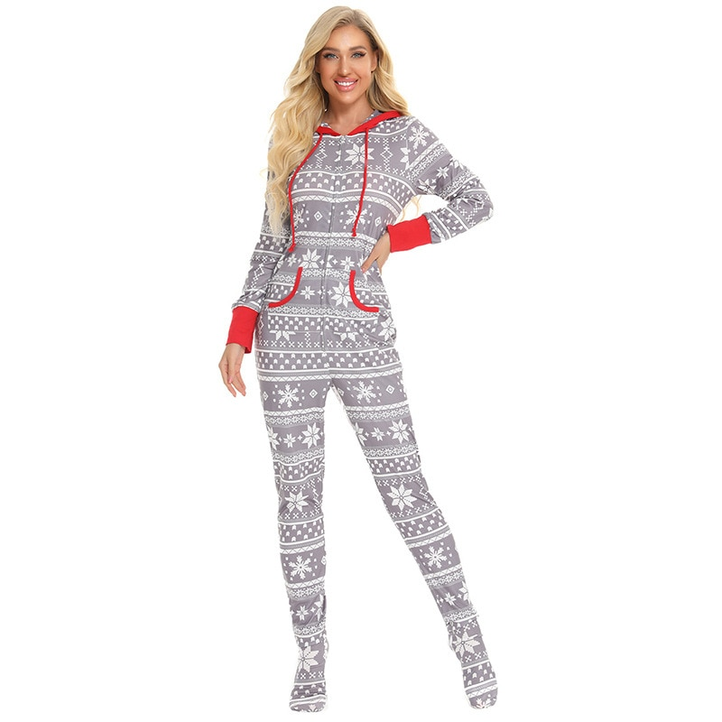 One-piece suit Christmas print autumn and winter home wear pajamas holiday parent-child wear happy new year children's wear enlarge
