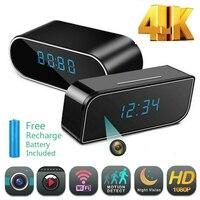 4K беспроводная Wi-Fi мини часы камера Oculta будильник часы с видеокамерой 1080P IP безопасность ночное видение датчик движения удаленный монитор