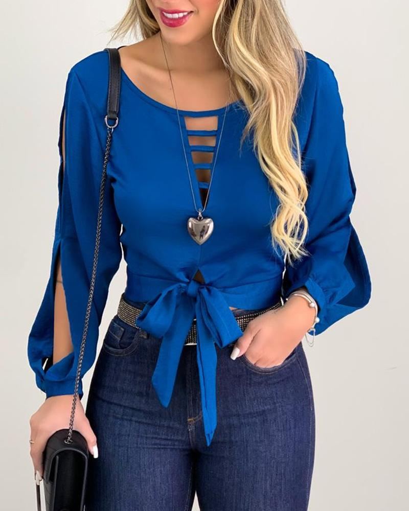 2020 Women Fashion Elegant Casual Hollow Out Long Sleeve Blouse Shirt Woman Solid Bow Design Tie Front Cut Out Top cut out sleeve plain top